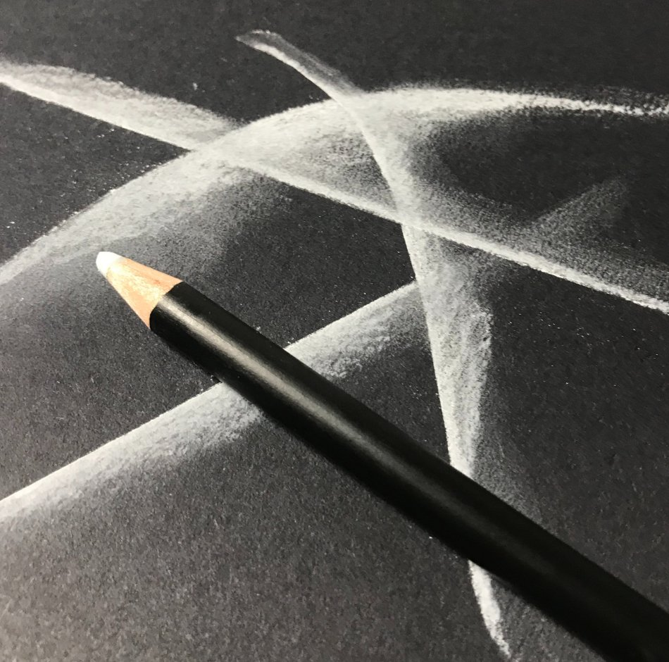 Drawing On Black Charcoal Paper