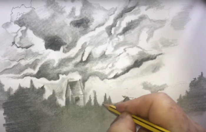 DRAWING A CLOUDY SKY