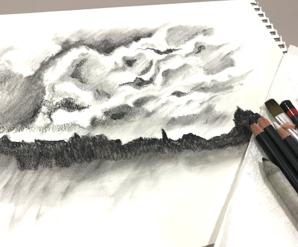 How to Draw Clouds with Charcoal